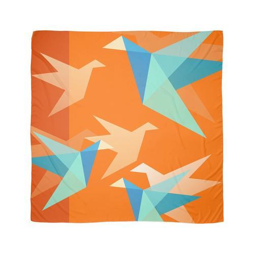Orange Papierkräne Tuch