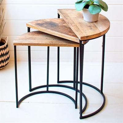 Demilune Mango Wood Nesting Side Tables Natural Set of Three, Set of Three, Natural