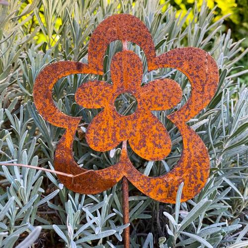 Gartenstecker Petunie, Edelrost, ca. 52 cm