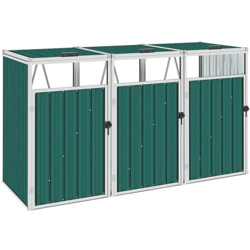 YOUTHUP Mülltonnenbox für 3 Mülltonnen Grün 213×81×121 cm Stahl