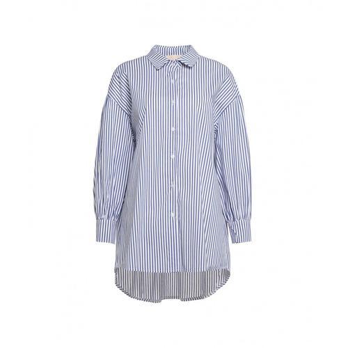 Kaos Damen Bluse mit Kontraststreifen Blau