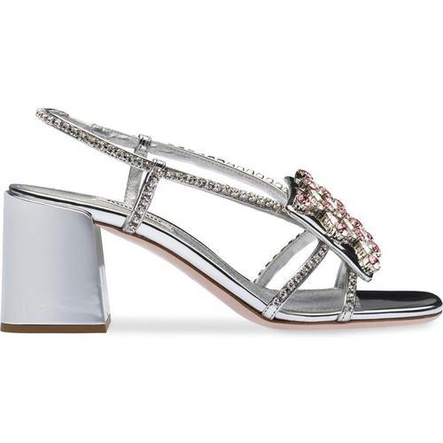 Miu Miu Metallic-Sandalen mit Kristallen