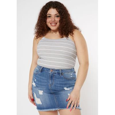 Rue21 Womens Plus Size Gray Striped Bungee Cami - Size 3X