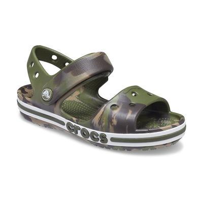 Crocs Army Green / Multi Kids' Bayaband Marbled Sandal Shoes