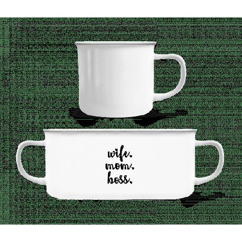 Wife Mom Boss - Emaille-Tasse