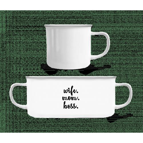 Wife Mom Boss - Emaille-Tasse