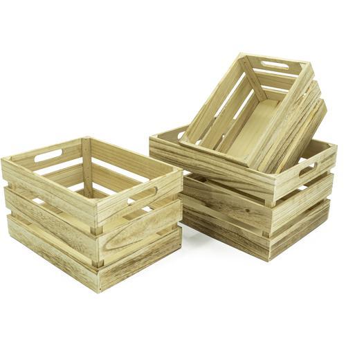NOOR LIVING Aufbewahrungsbox Holzkisten-Set, 3-tlg., natur, rechteckig, (Set, 3 St.) beige Kleideraufbewahrung Aufbewahrung Ordnung Wohnaccessoires