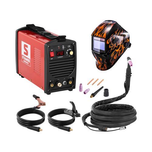 Stamos Basic Schweißset WIG Schweißgerät - 250 A - 230 V - tragbar + Schweißhelm – Firestarter 500
