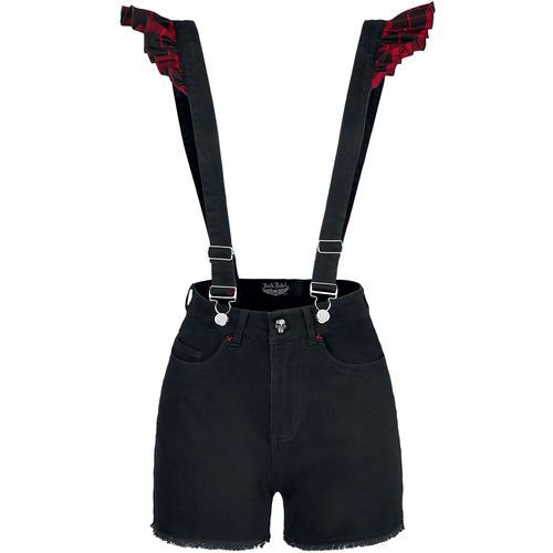 Rock Rebel by EMP Rot/Schwarze Shorts mit Hosenträgern Damen-Short - rot schwarz