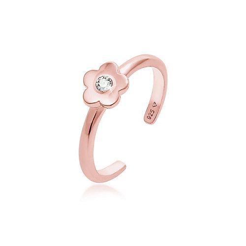 Elli Ring Kinder Blume Kristall 925Er Silber Ringe rosegold Mädchen Kinder