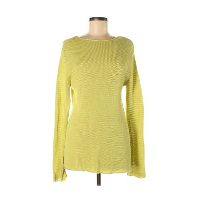 City DKNY Pullover Sweater: Green Solid Tops - Size Medium