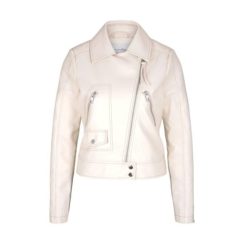 TOM TAILOR DENIM Damen Biker Lederjacke, beige, Gr.S