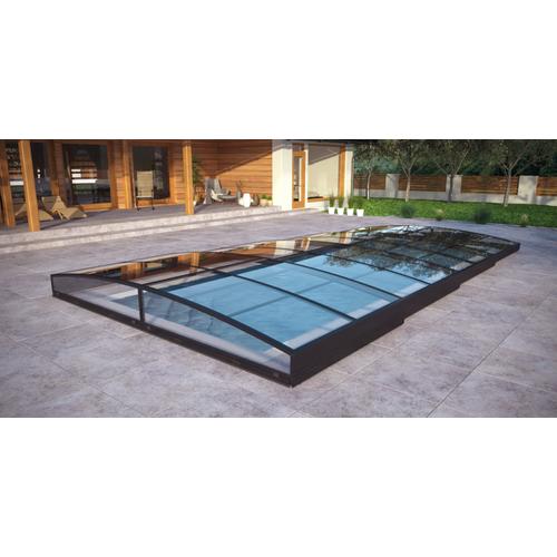 Poolüberdachung / Schwimmbeckenüberdachung mit einseitiger Schiene SkyCover® Neo Clear 3.5x6.3m
