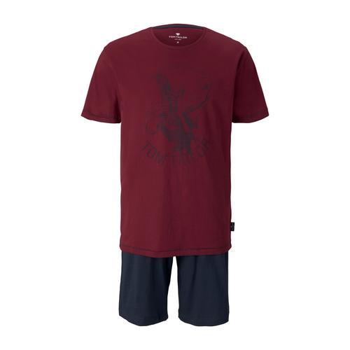 TOM TAILOR Herren Maritimes Pyjama-Set, rot, Gr.48/S