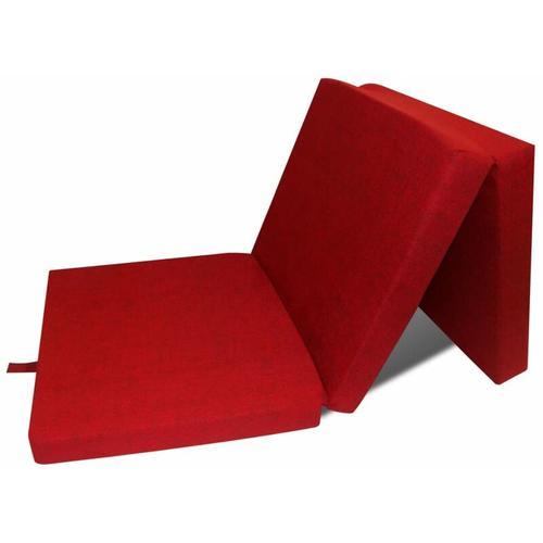 3-teilige Klappmatratze 190×70×9 cm Rot - Youthup