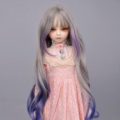 Perruque longue lisse et bouclée pour poupée Bjd, cheveux haute température, gris, 1/3 1/4,