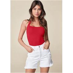 Distressed Jean Shorts Shorts - White