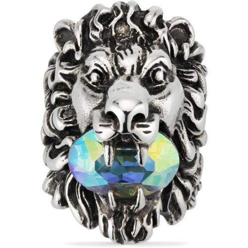 Gucci Löwenkopf Ring mit Kristall
