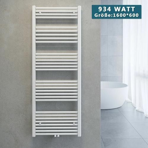 Handtuchtrockner Heizkörper Handtuchwärmer Badheizkörper Heizung Weiß 1600x600mm