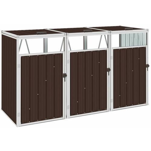 Mülltonnenbox für 3 Mülltonnen Braun 213×81×121 cm Stahl
