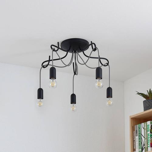 Lucande Jorna Deckenlampe, 5-flammig, Kabel grau