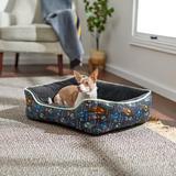 STAR WARS THE MANDALORIAN'S THE CHILD Bolster Cat & Dog Bed, Black Patterned, Medium