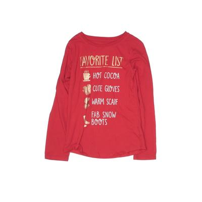 Wonder Nation Long Sleeve T-Shirt: Red Solid Tops - Size 7
