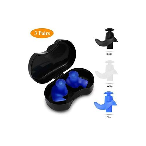 3 Paar Ohrstöpsel Schwimmen, Professionelle wasserdichte Wiederverwendbare Silikon Ohrstöpsel zum