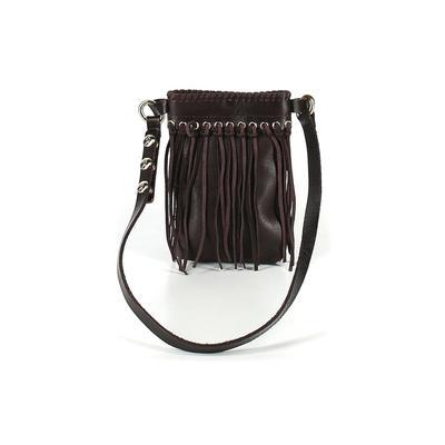 Unbranded - Leather Shoulder Bag: Brown Solid Bags