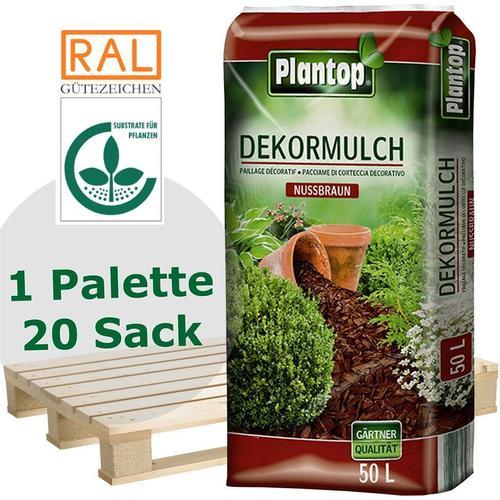 20 Sack Plantop Dekor-Mulch Nussbraun 10-40mm, Gartenmulch, 50 Liter