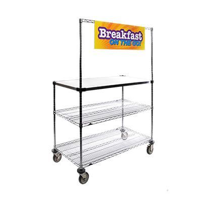 """Metro GG2436 3 tier Grab n' Go Breakfast Cart - 36""""W x 24""""D, Steel"""