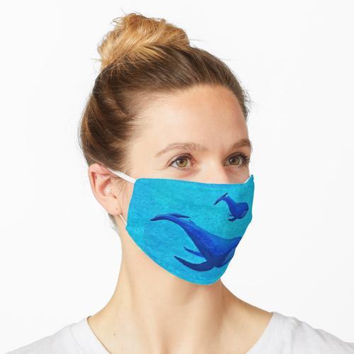 Pastell Blauwal Mutter und Baby Maske