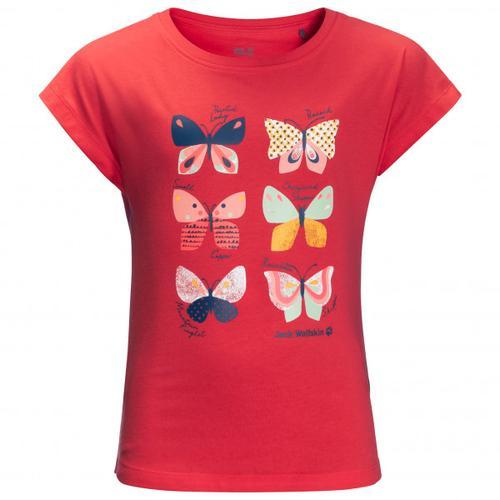 Jack Wolfskin - Girl's Butterfly T - T-Shirt Gr 152 rot/rosa