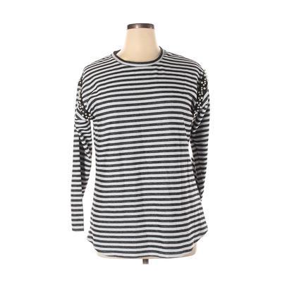 Lane Bryant Sweatshirt: Gray Stripes Clothing - Size 14 Plus
