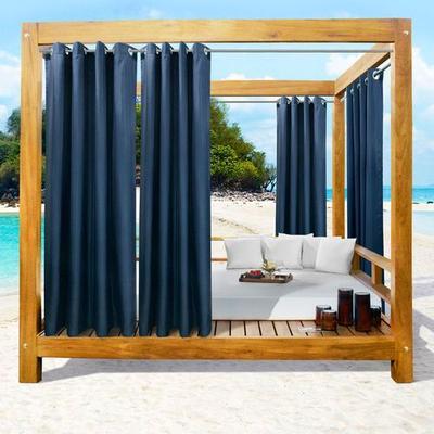 Bayport Solid Color Semi Sheer Wide Curtain Pair, 100 x 96, Indigo