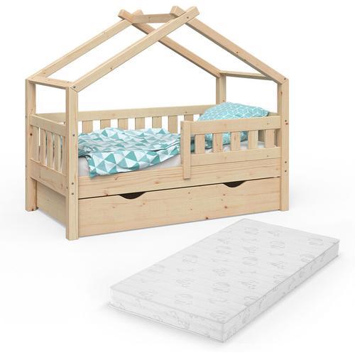 Design Kinderbett 140x70 Babybett mit Schublade Lattenrost Matratze - Vitalispa