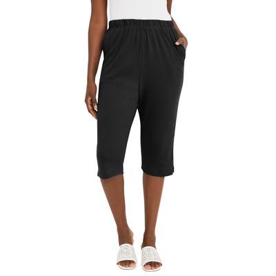 Plus Size Women's Soft Ease Capri by Jessica London in Black (Size 30/32)