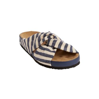 Wide Width Women's The Reese Footbed Sandal by Comfortview in Navy (Size 8 W)
