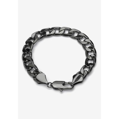 """Men's Big & Tall Black Ruthenium-Plated Curb-Link Bracelet 10"""" by PalmBeach Jewelry in Black"""
