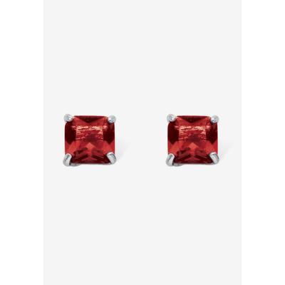 Plus Size Women's Sterling Silver Stud Princess Cut Simulated Birthstone Stud Earrings by PalmBeach Jewelry in July