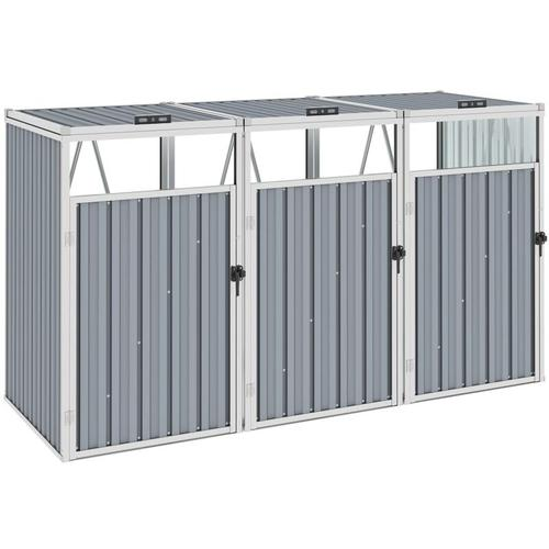 Youthup - Mülltonnenbox für 3 Mülltonnen Grau 213×81×121 cm Stahl