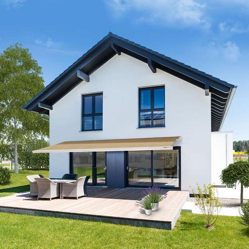 Home Deluxe - LED Vollkassettenmarkise Elos V2 - sandfarben 585 x 300 cm I Überdachung,