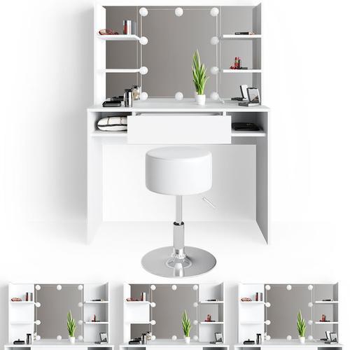 LED Schminktisch DAENERYS Weiß Frisiertisch Frisierkommode Spiegel Hocker - Vicco