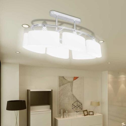 Topdeal Deckenlampe mit ellipsenförmigen Glasschirmen 4 Stk. E14 21082