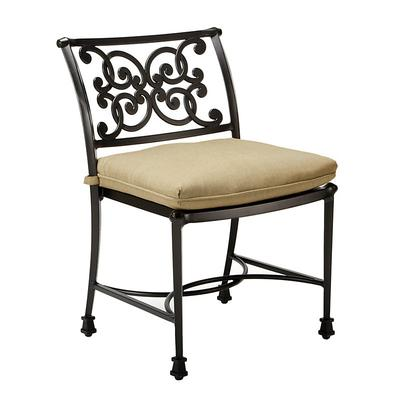 Amalfi Dining Side Chair Replacement Cushion Canopy Stripe Granite/White Sunbrella - Ballard Designs