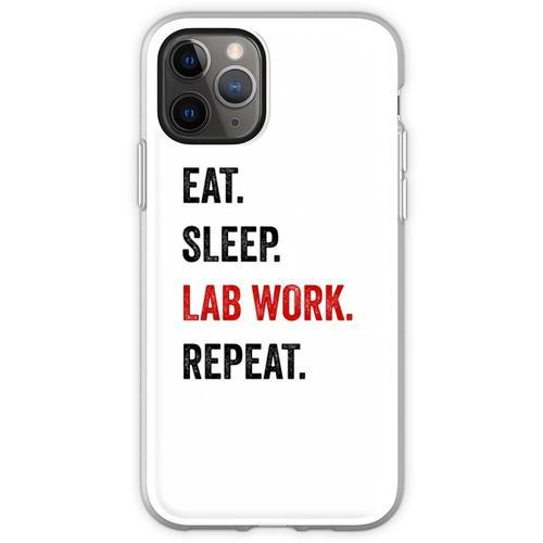 Essen Sie Schlaflaborarbeit Wiederholen Sie Labortechniker lustig Flexible Hülle für iPhone 11 Pro
