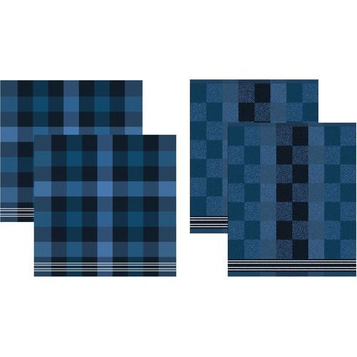 DDDDD Geschirrtuch Feller, (Set, 4 tlg., Combi-Set: bestehend aus 2x Küchentuch + Geschirrtuch) blau Geschirrtücher Küchenhelfer Haushaltswaren