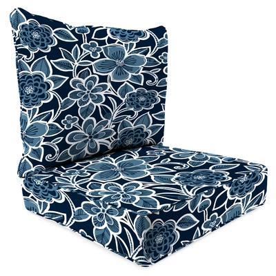 Outdoor 2PC Deep Deat Chair Cushion-HALSEY NAVY RICHLOOM - Jordan Manufacturing 9740PK1-5899D