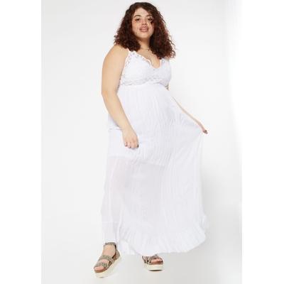 Rue21 Womens Plus Size White Crochet Ruffle Maxi Dress - Size 1X
