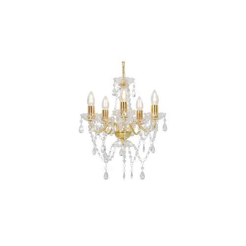 vidaXL Kronleuchter mit Perlen Golden Rund 5×E14